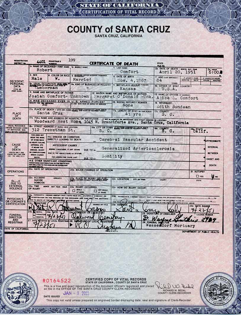 Comfortcougher family history biographies comfortcougher death certificate aiddatafo Images